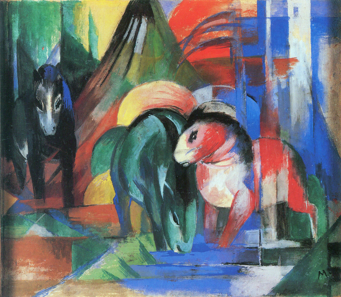 Franz Mark. Three horses at the watering
