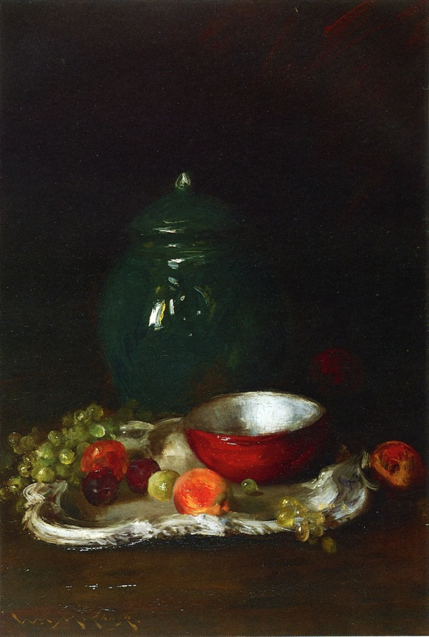 William Merritt Chase. Still life with a small red bowl