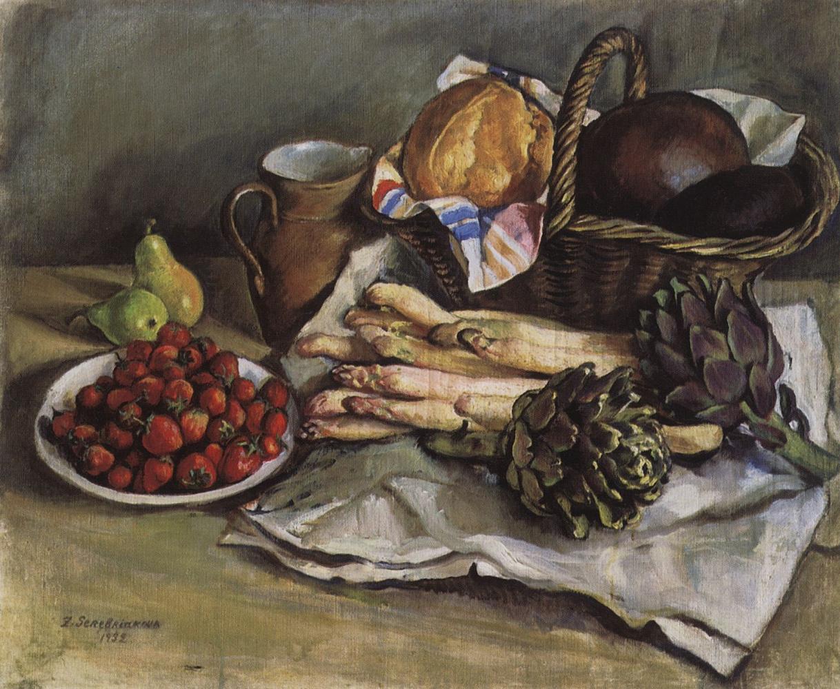 Зинаида Евгеньевна Серебрякова. Натюрморт со спаржей и земляникой