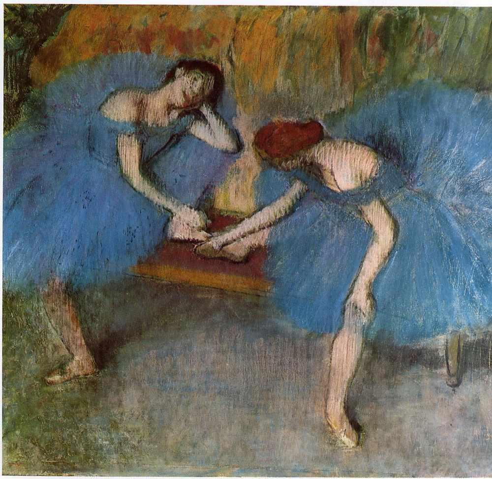 Edgar Degas. Two dancers in blue