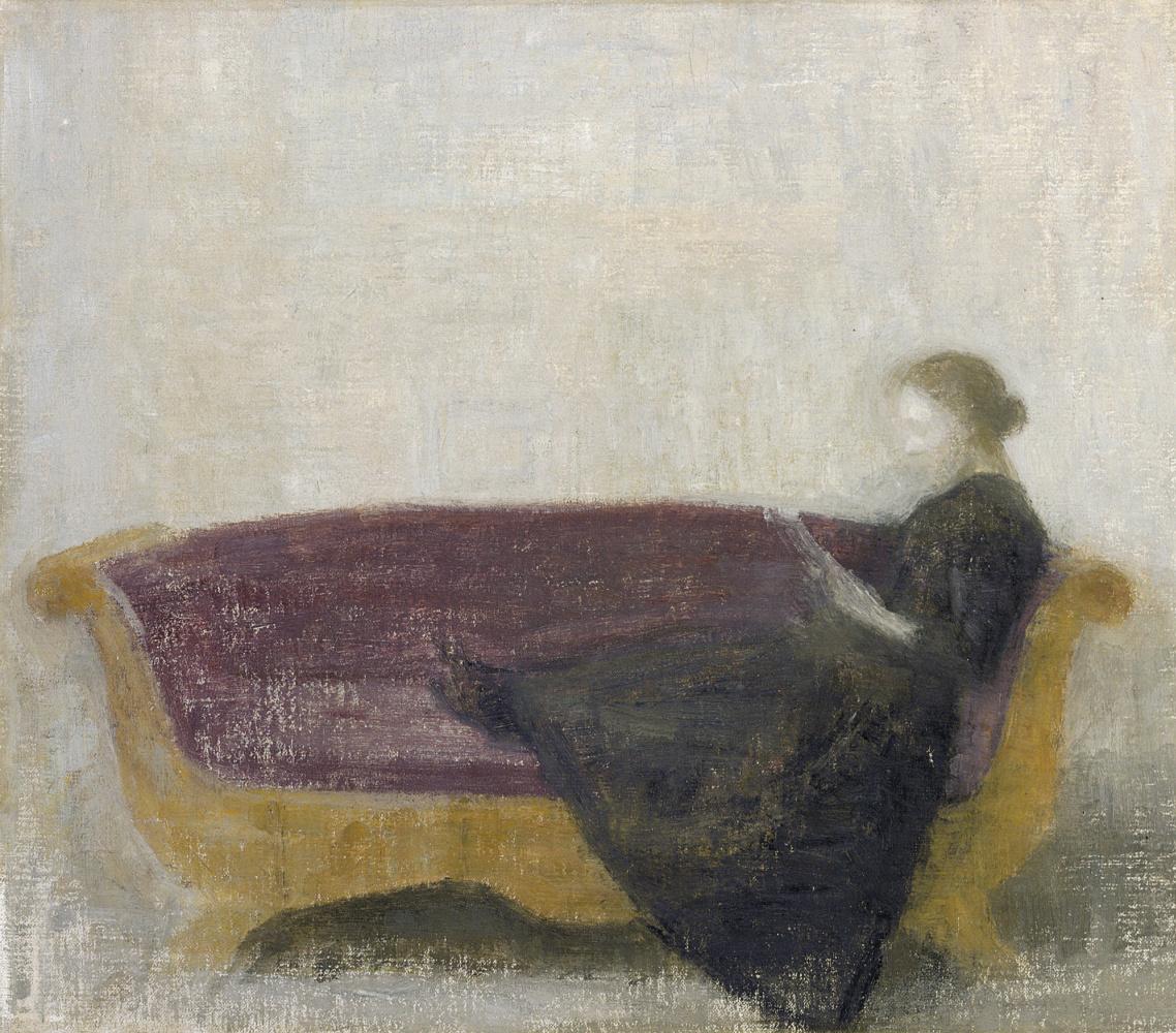 Вильгельм Хаммерсхёй. Читающая женщина на софе