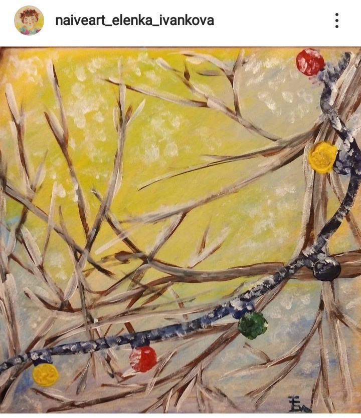 Elenka Ivankova. Over your head. New Year's. Gouache, oil pastel, kraft paper, 2020