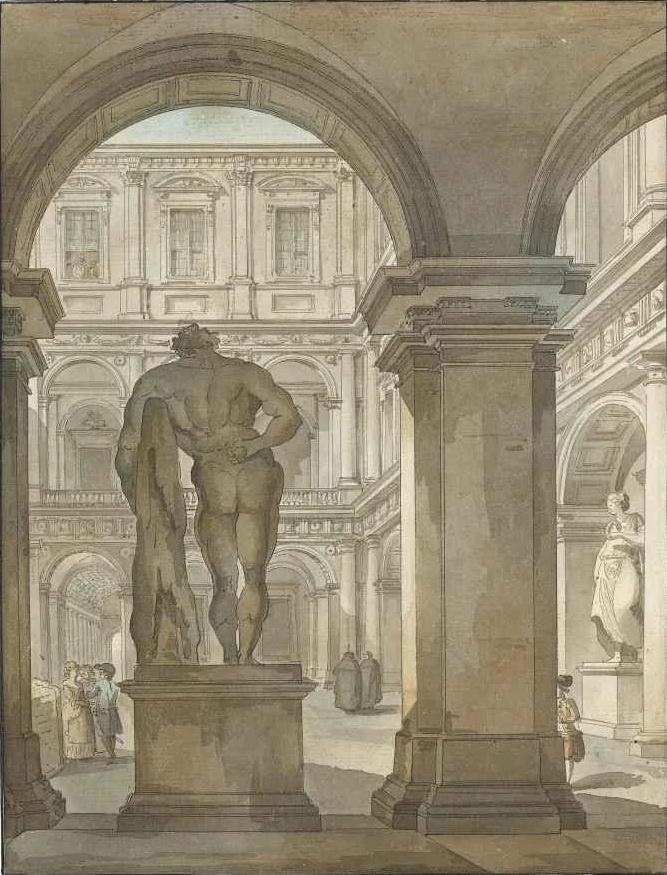 Giacomo Quarenghi. Hercules statue in the courtyard of the Villa Farnese, Rome