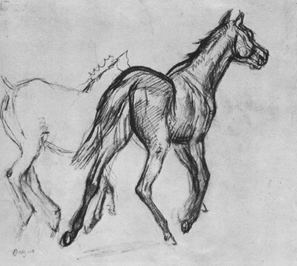 Эдгар Дега. Две бегущие рысью лошади
