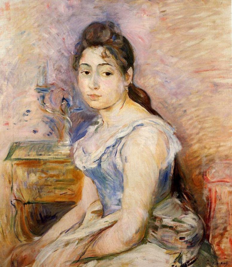 Берта Моризо. Молодая женщина в голубой блузке