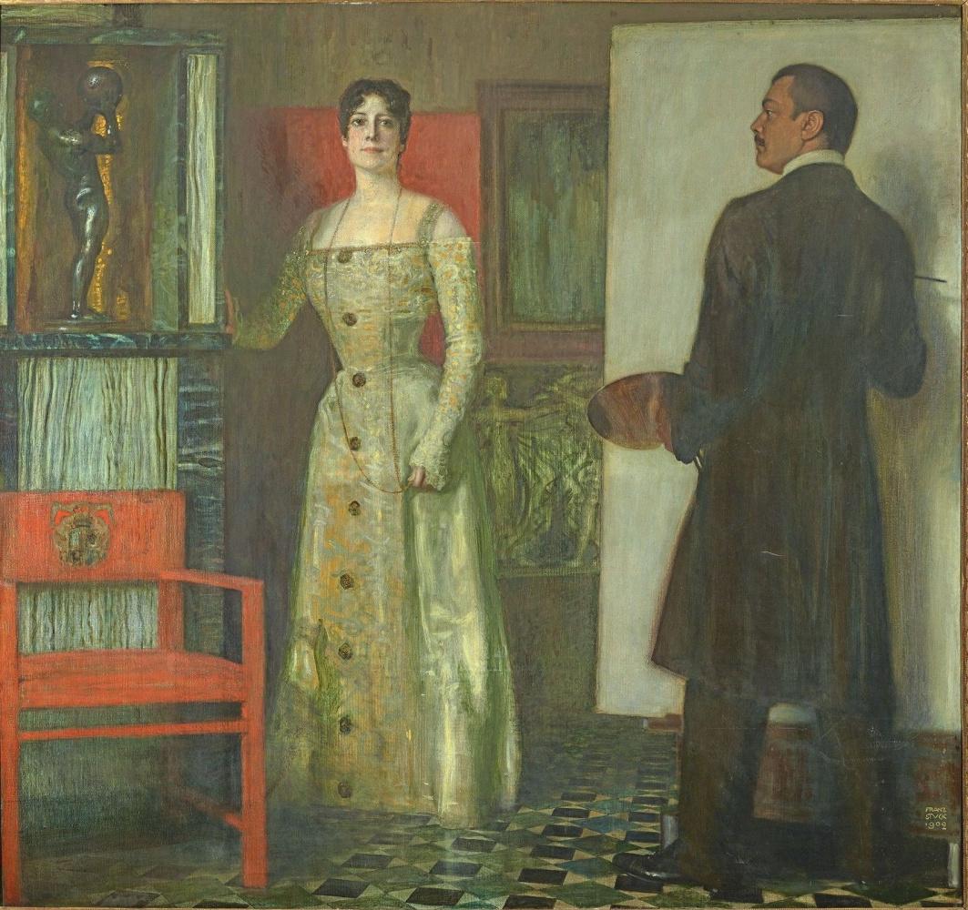 Franz von Pieces. Self-portrait with wife in the Studio