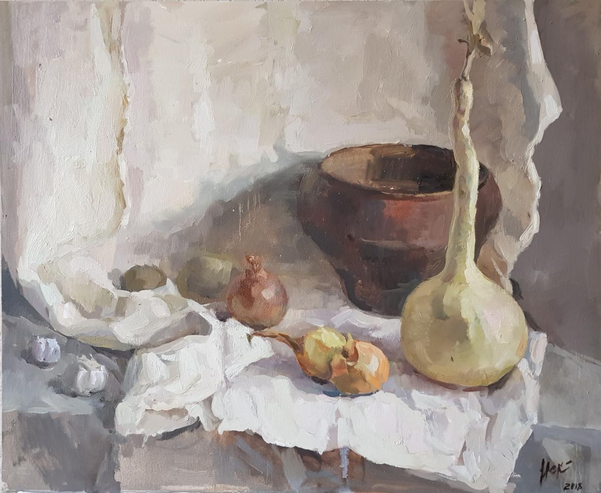 Julia Iskortseva. Still life with pumpkin and onions