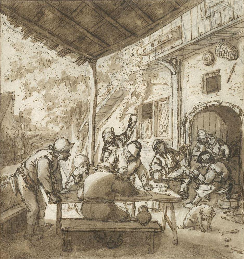 Adrian Jans van Ostade. The dice in the gazebo
