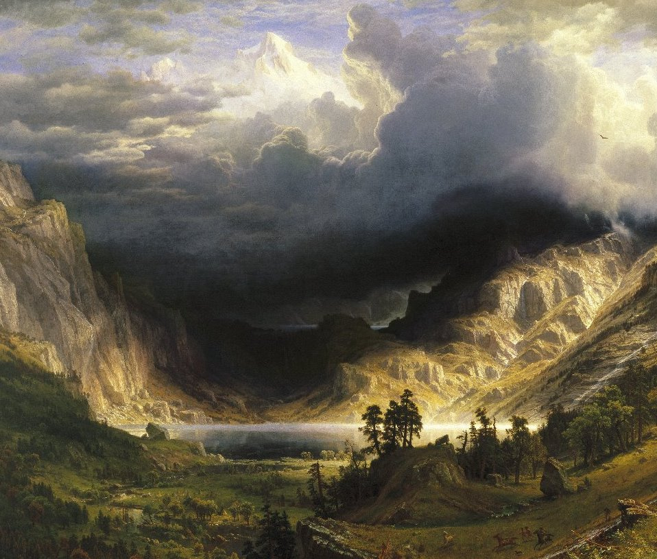 Albert Birštadt. Storm in the Rocky mountains, mount Rosalie. Fragment