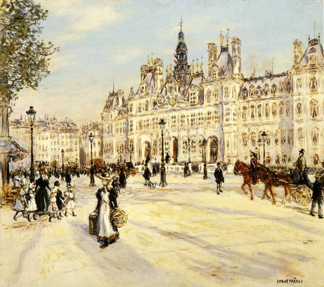 Jean-François Raffaelli. Hotel de Ville in Paris