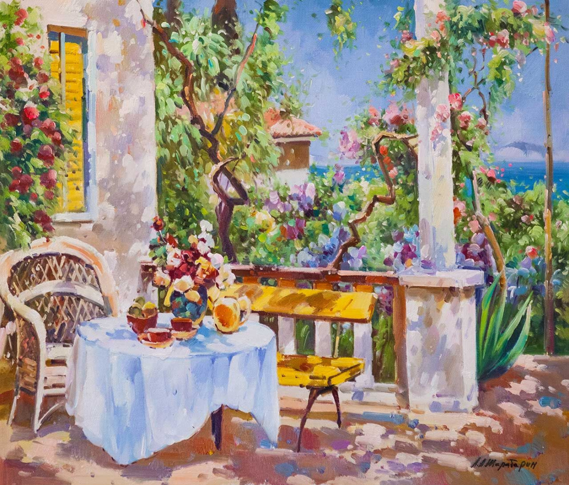 Andrey Sharabarin. Blooming terrace. Morning coffee