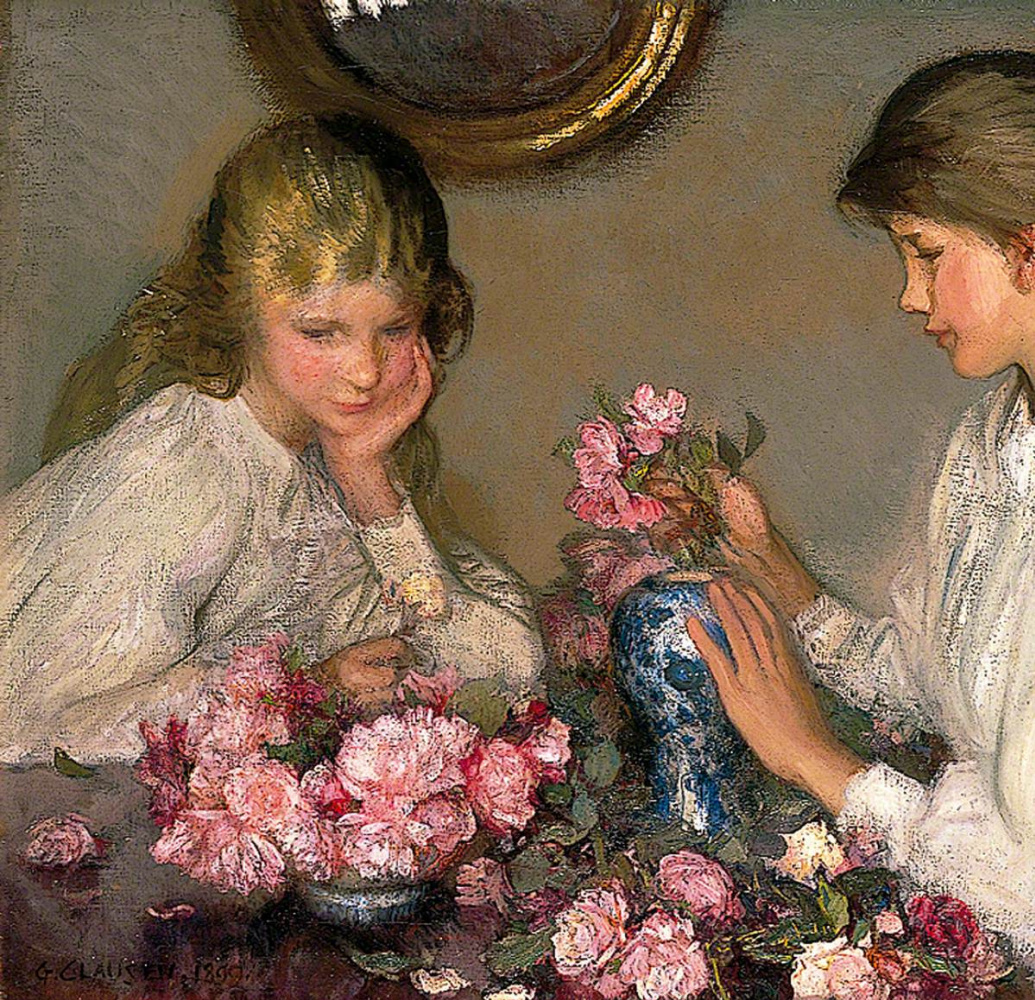 George Clausen. Children and roses