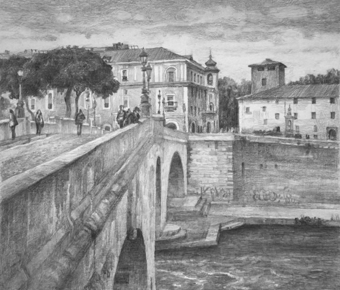 Oleg Borisovich Zakharov. Rome. Autumn. Chestyo Bridge on Tiber Island.