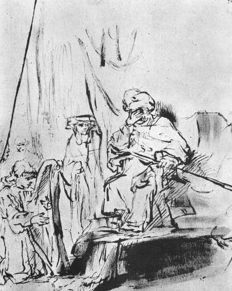 Рембрандт Ван Рейн. Давид играет на арфе перед Саулом
