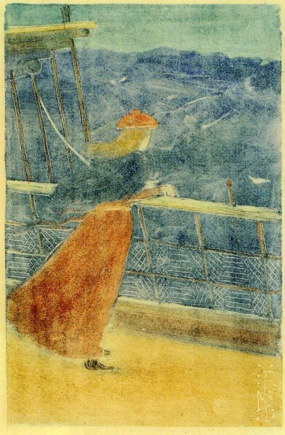Maurice Braziel Prendergast. The woman on the deck, looking out at the sea