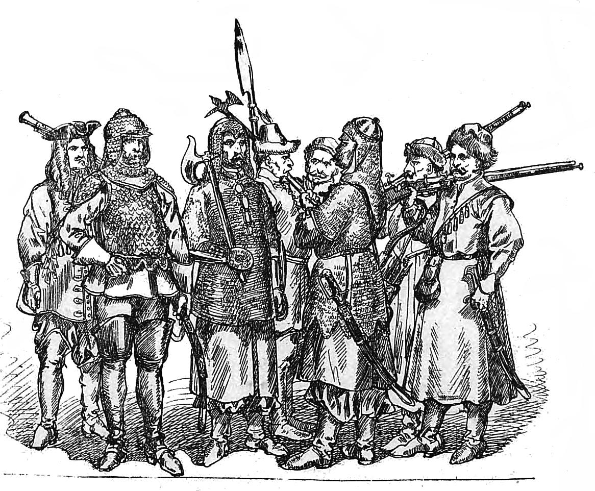 """Ян Матейко. Польские солдаты 1674 - 1696. """"Польская одежда, 1200 - 1795 г.г."""""""