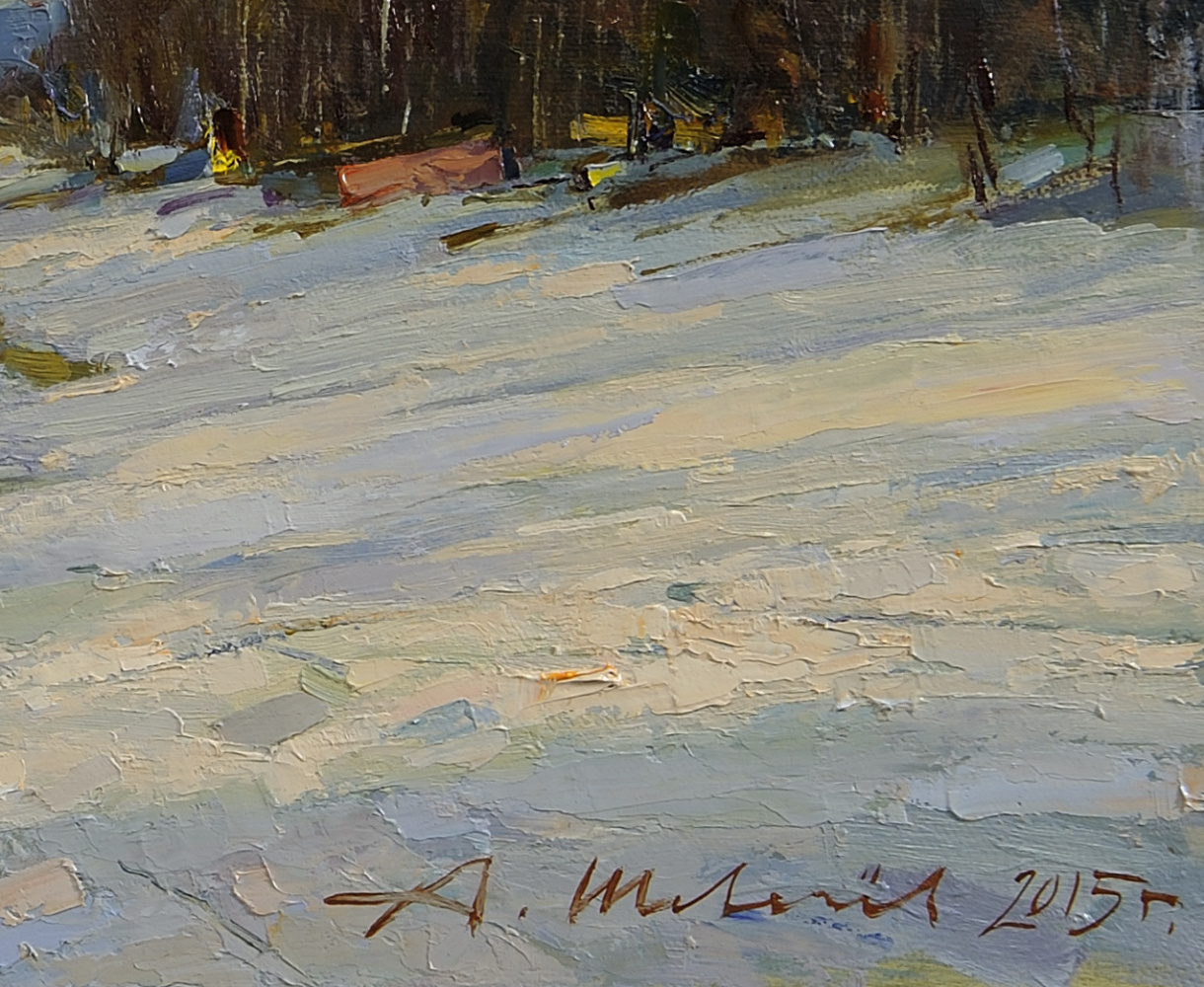 Ice drift in Plese.Oil on canvas 23.5 X 68.5 cm. 2015