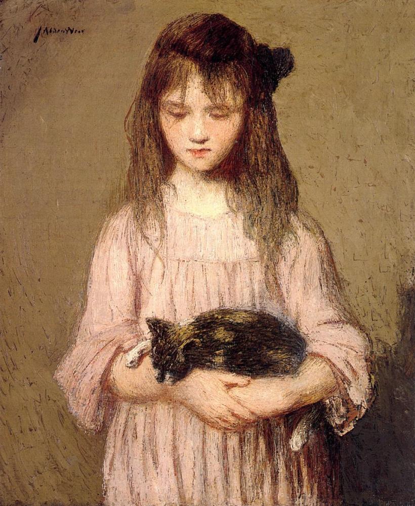 Джулиан Олден Уир. Девочка с котенком
