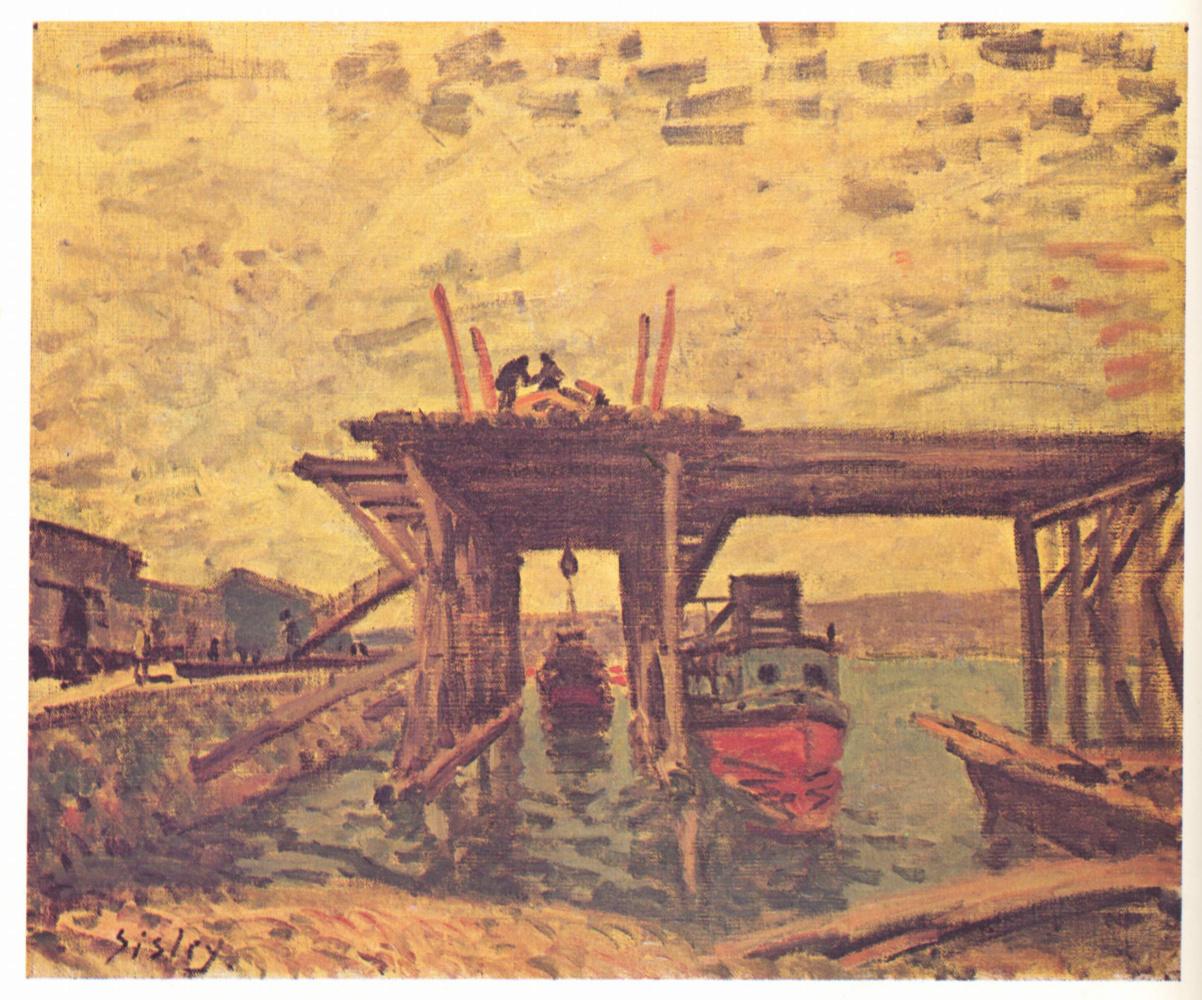 Альфред Сислей. Строительство моста