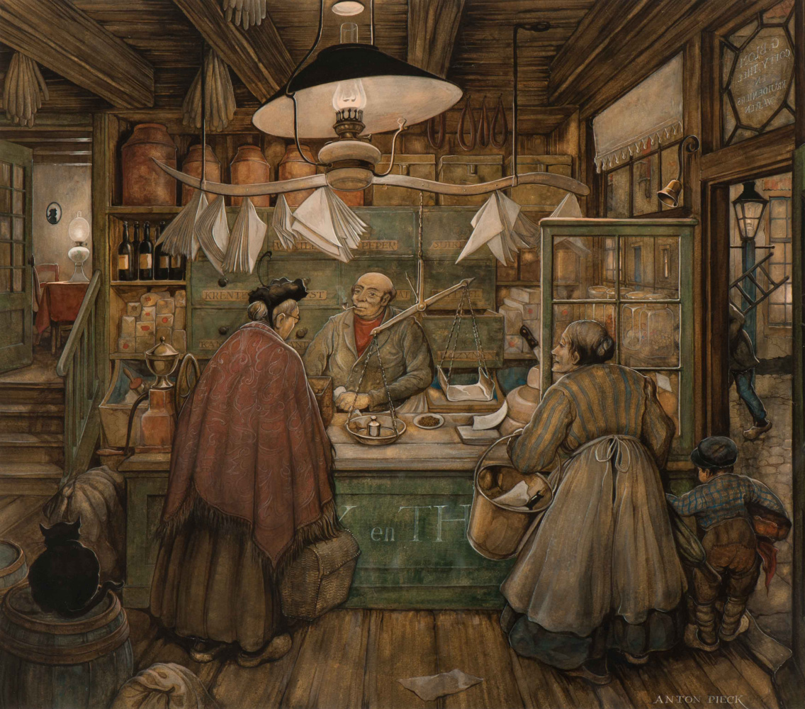 Anton Pieck. At the grocery store