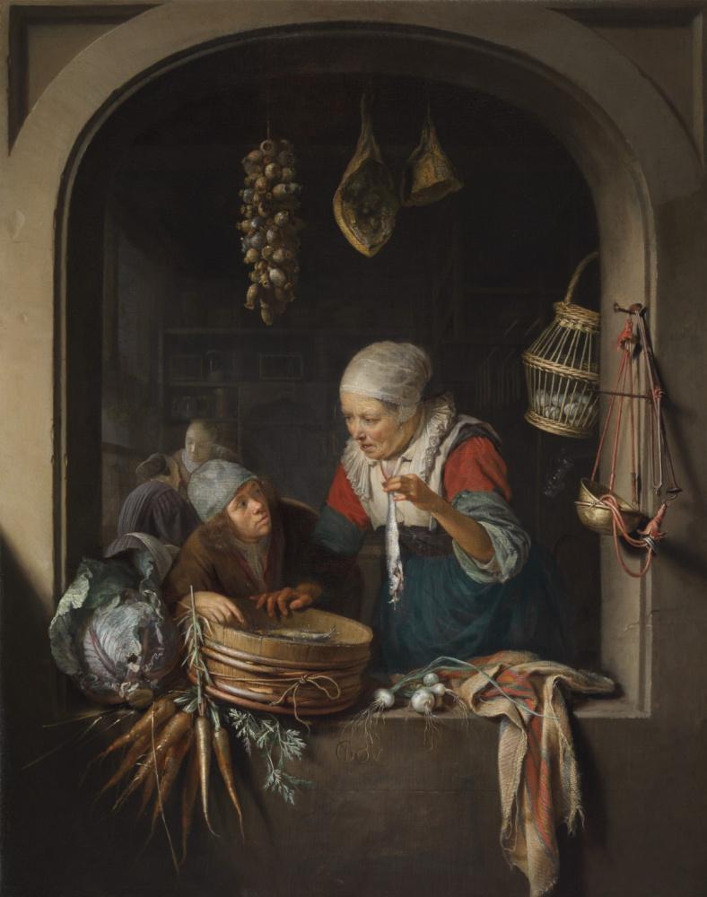 Геррит (Герард) Доу. Торговка сельдью и мальчик