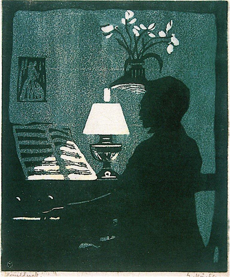 Gabriele Münter. Kandinsky playing the harmonium