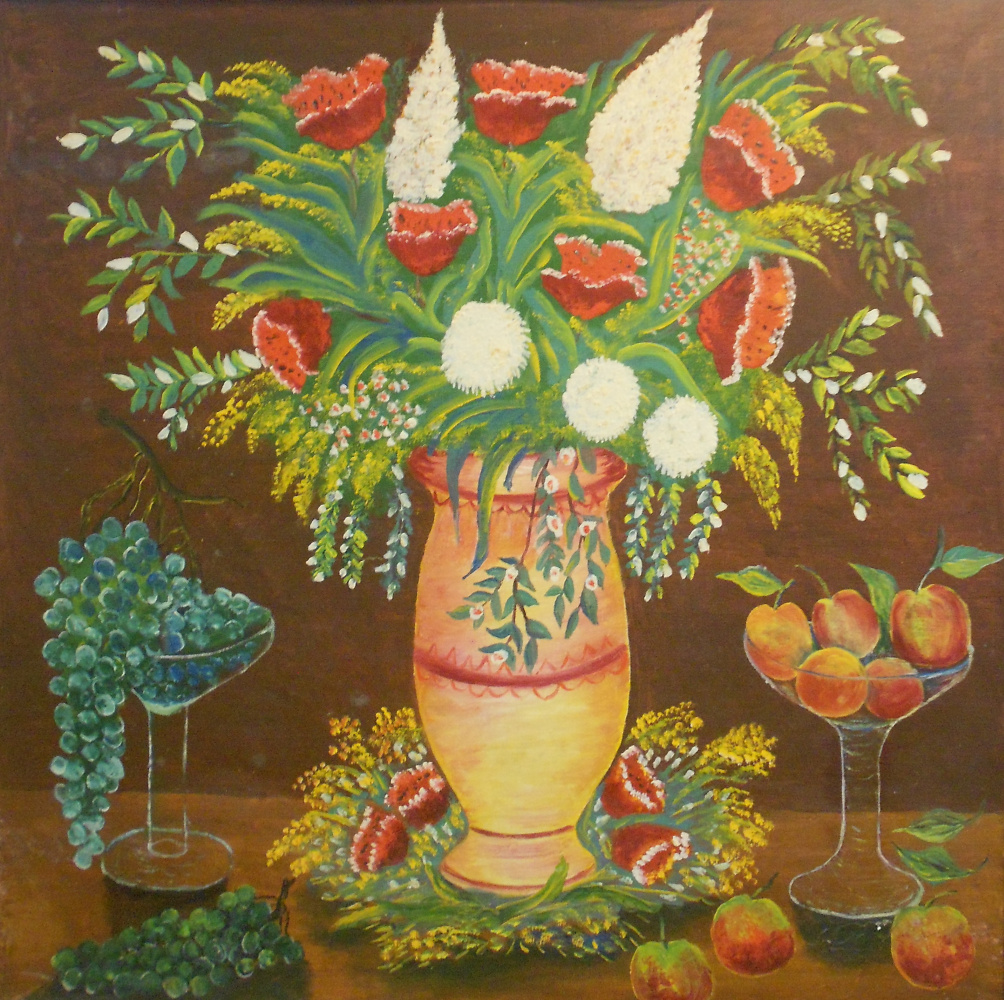 Vasily Vasilyevich Grigoryev. Flowers in a vase. Green grapes