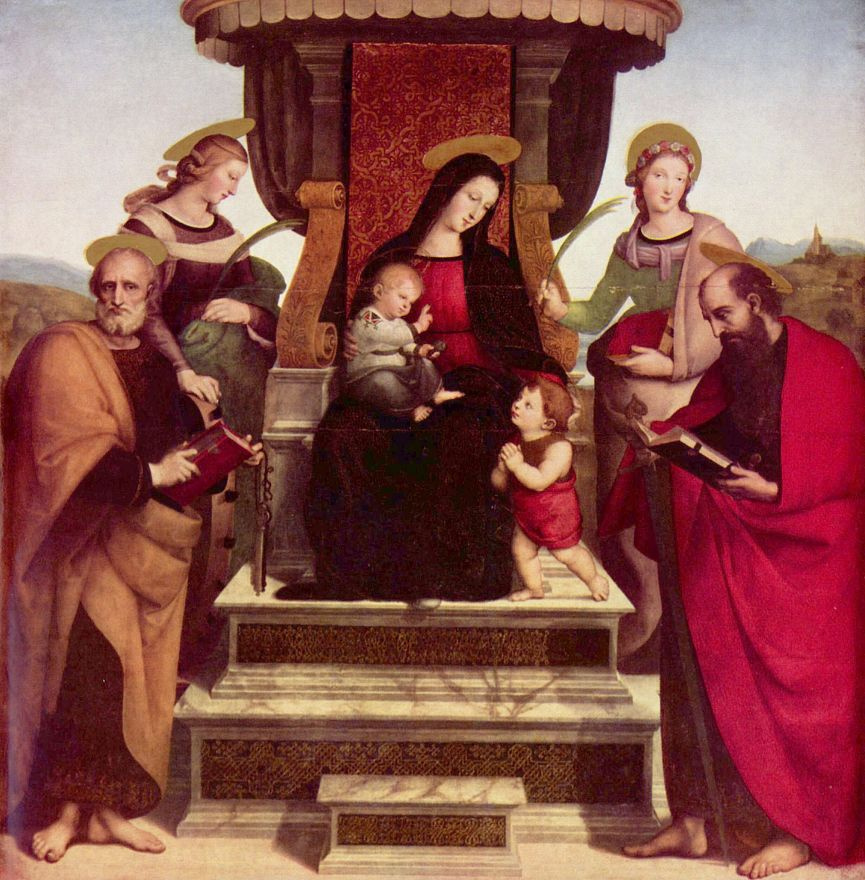 Raphael Santi. Altar of the Colonna, the Central part: Madonna enthroned with the Christ child, infant John the Baptist, to the right of SV. Paul, left St. Peter, St. Catherine and St. Cecilia