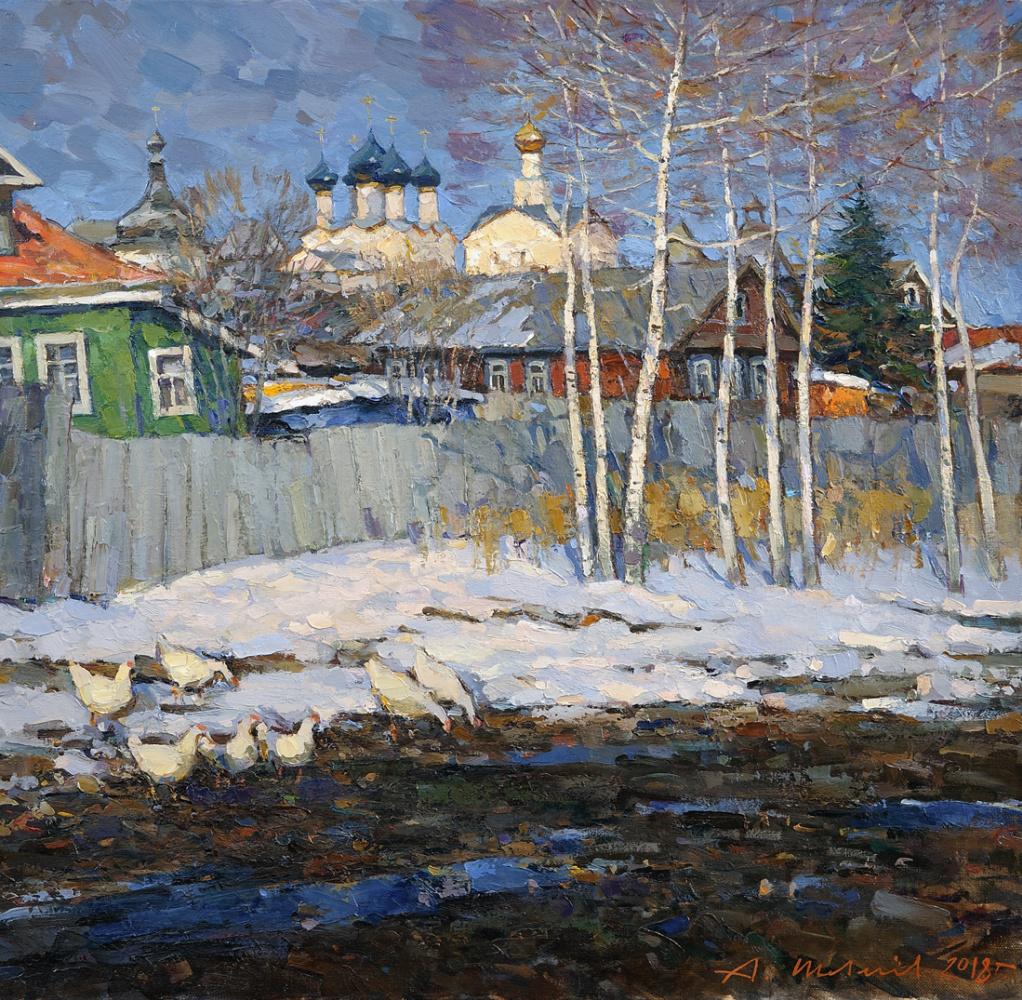 Alexander Shevelyov. Spring in Rostov. Oil on Canvas 59.2 x 60.7 cm. 2018