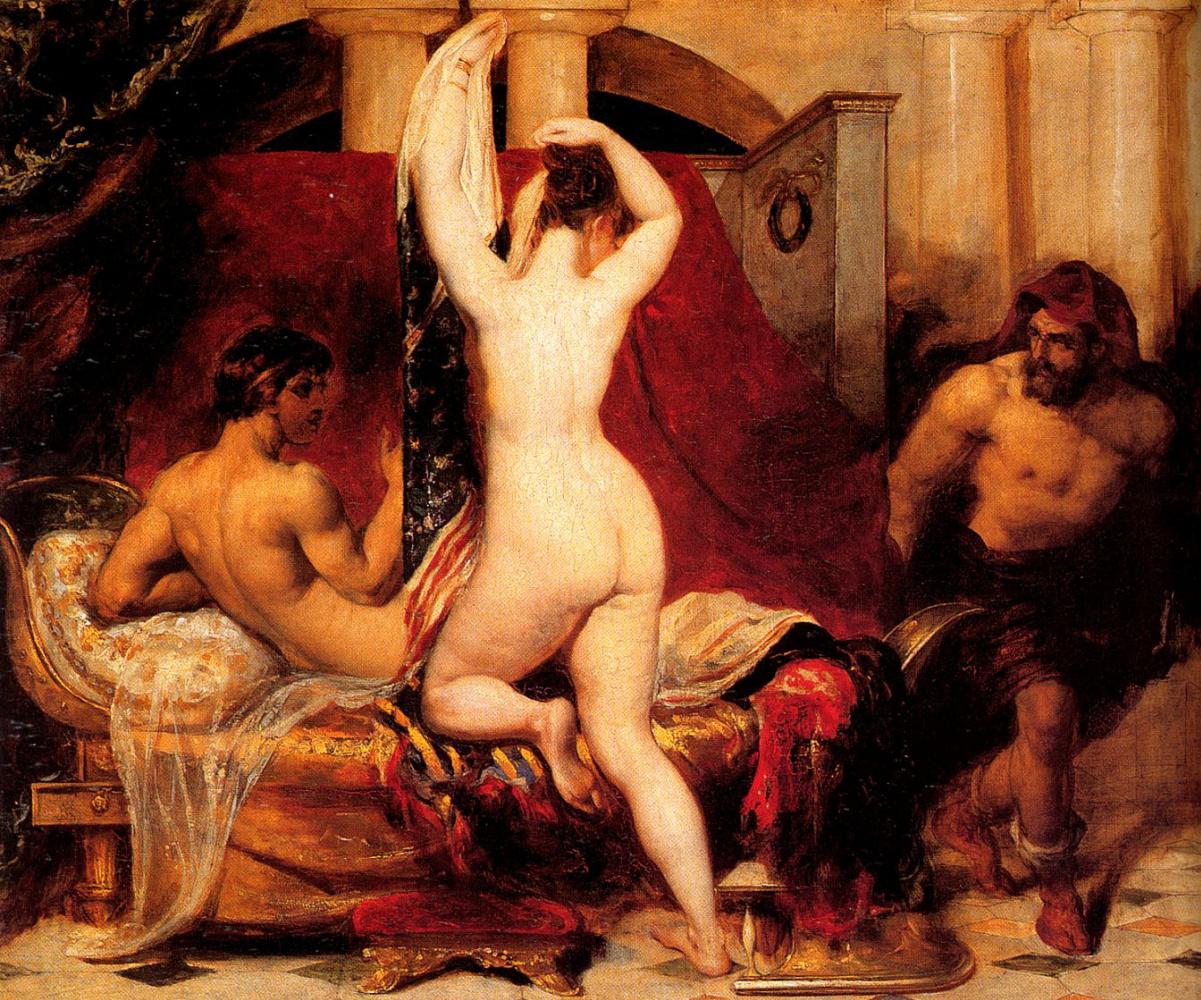 Уильям Этти. Кандавл, царь Лидии, показывает украдкой свою жену, ложащуюся в кровать, своему министру Гигесу