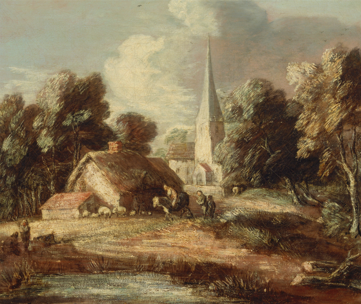 Thomas Gainsborough. Landscape with cottage and Church