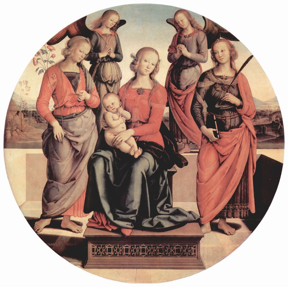 Пьетро Перуджино. Мадонна на престоле с двумя ангелами, св. Розой и св. Екатериной Александрийской, тондо