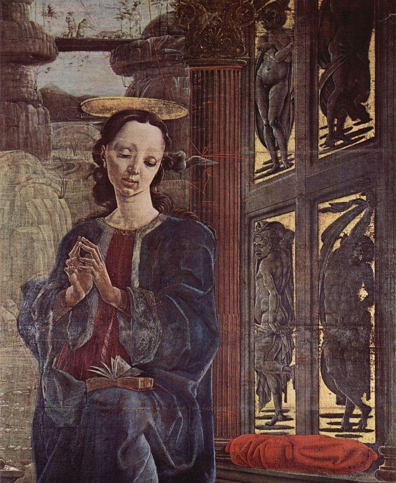 Козимо Тура. Четыре органных створки Кафедрального собора в Ферраре, с св. Георгом и драконом и Благовещением, сцена: Благовещение, деталь