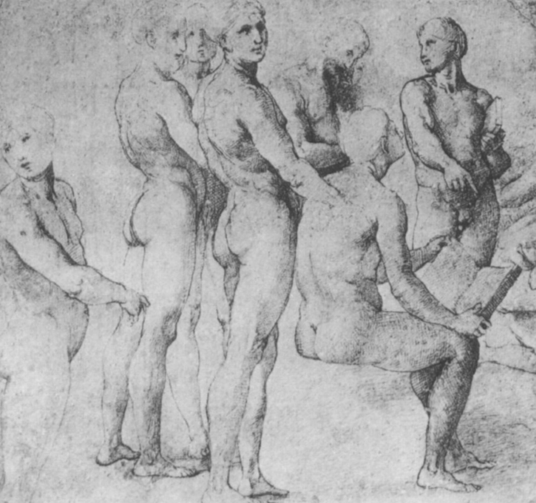 "Raphael Santi. Sketch for the fresco ""Dispute"". Studies of standing and seated Nude figures"