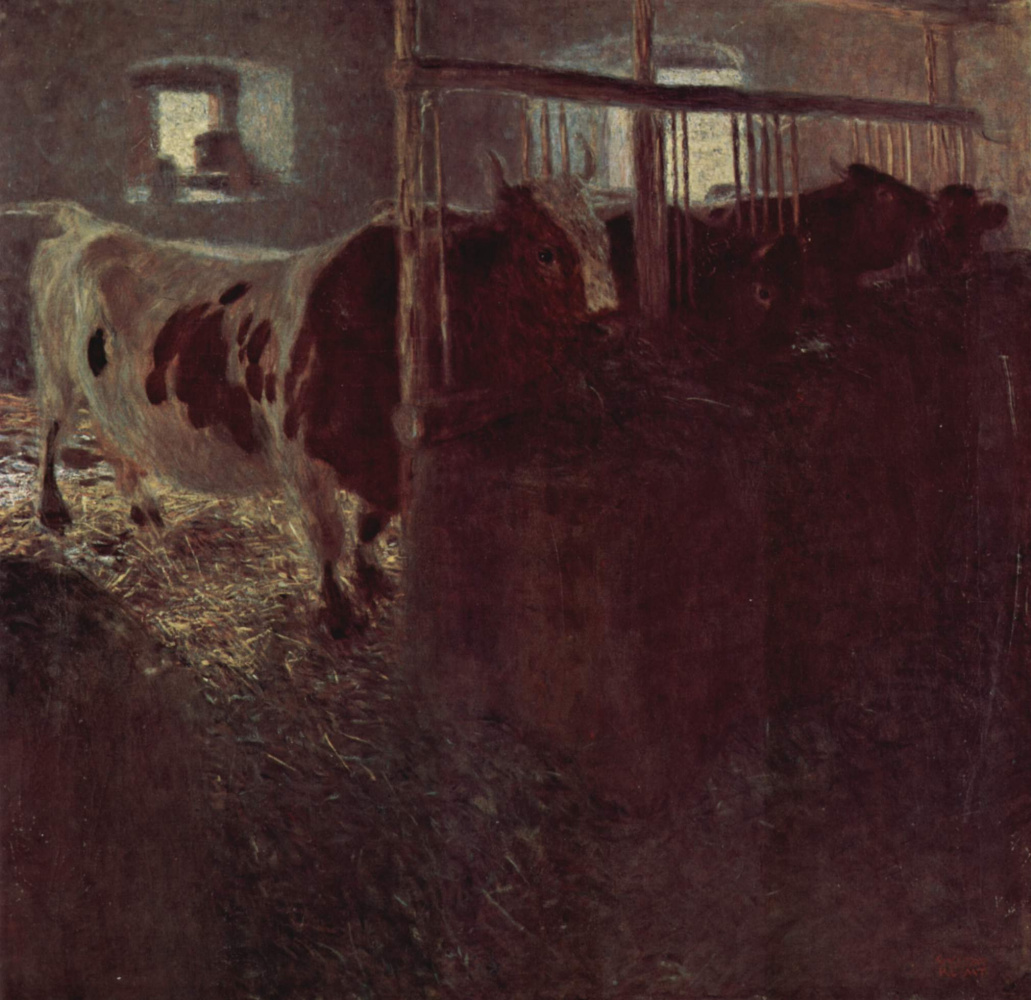 Gustav Klimt. Cows in the barn