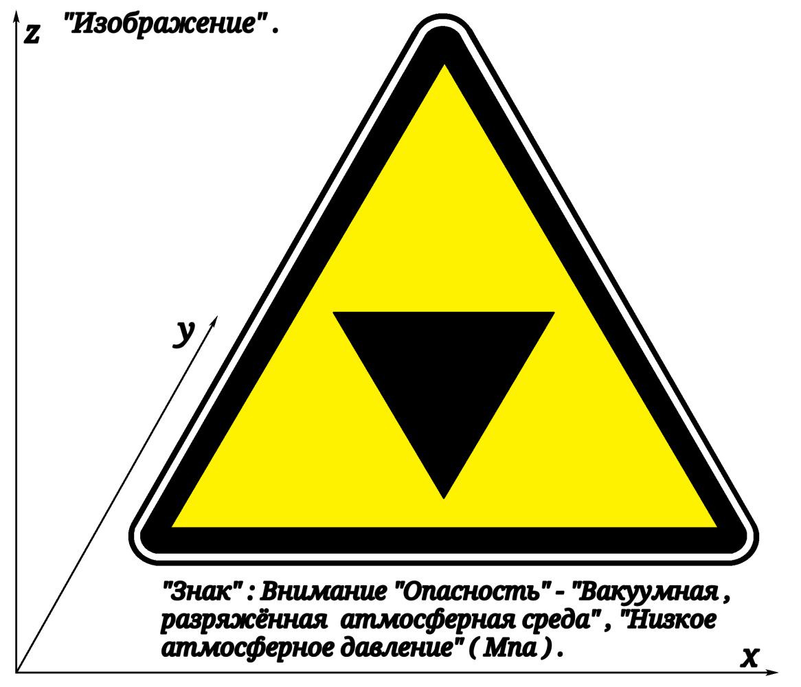 """Артур Габдраупов. """"Изображение"""" : """"Знак"""" ; Внимание  """"Опасность"""" - """"Вакуумная , разряжённая атмосферная среда"""" ,  """"Низкое атмосферное давление"""" ."""