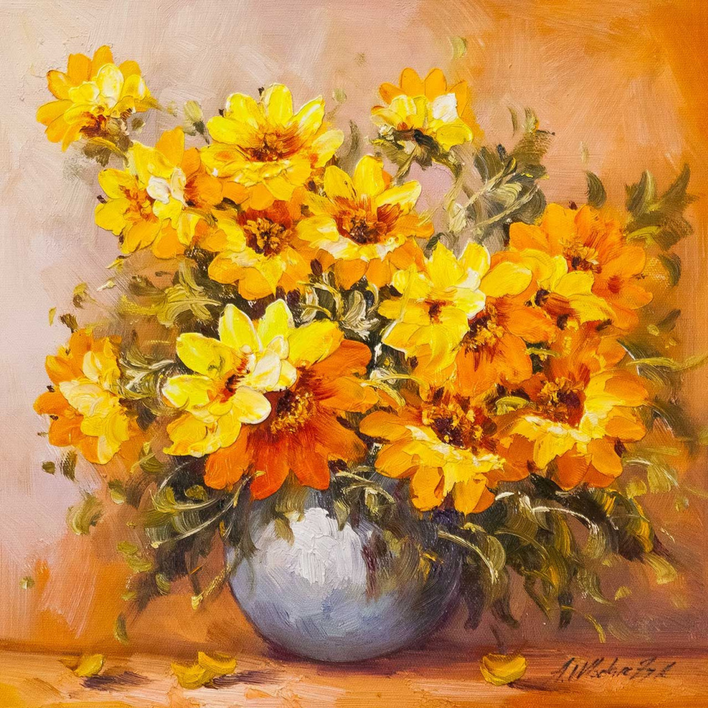 """Andrzej Vlodarczyk. Still life with oil """"Suns-Sunflowers N4"""""""