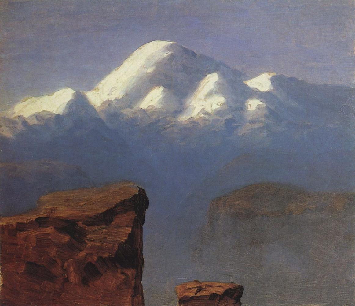 Arkhip Kuindzhi. The summit of mount Elbrus in the sunlight