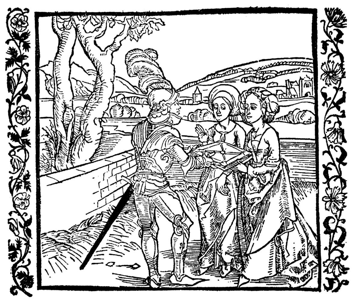 """Альбрехт Дюрер. Иллюстрация к книге """"Рыцарь де ля Тур"""". Рыцарь де ля Тур вручает книгу дочерям"""