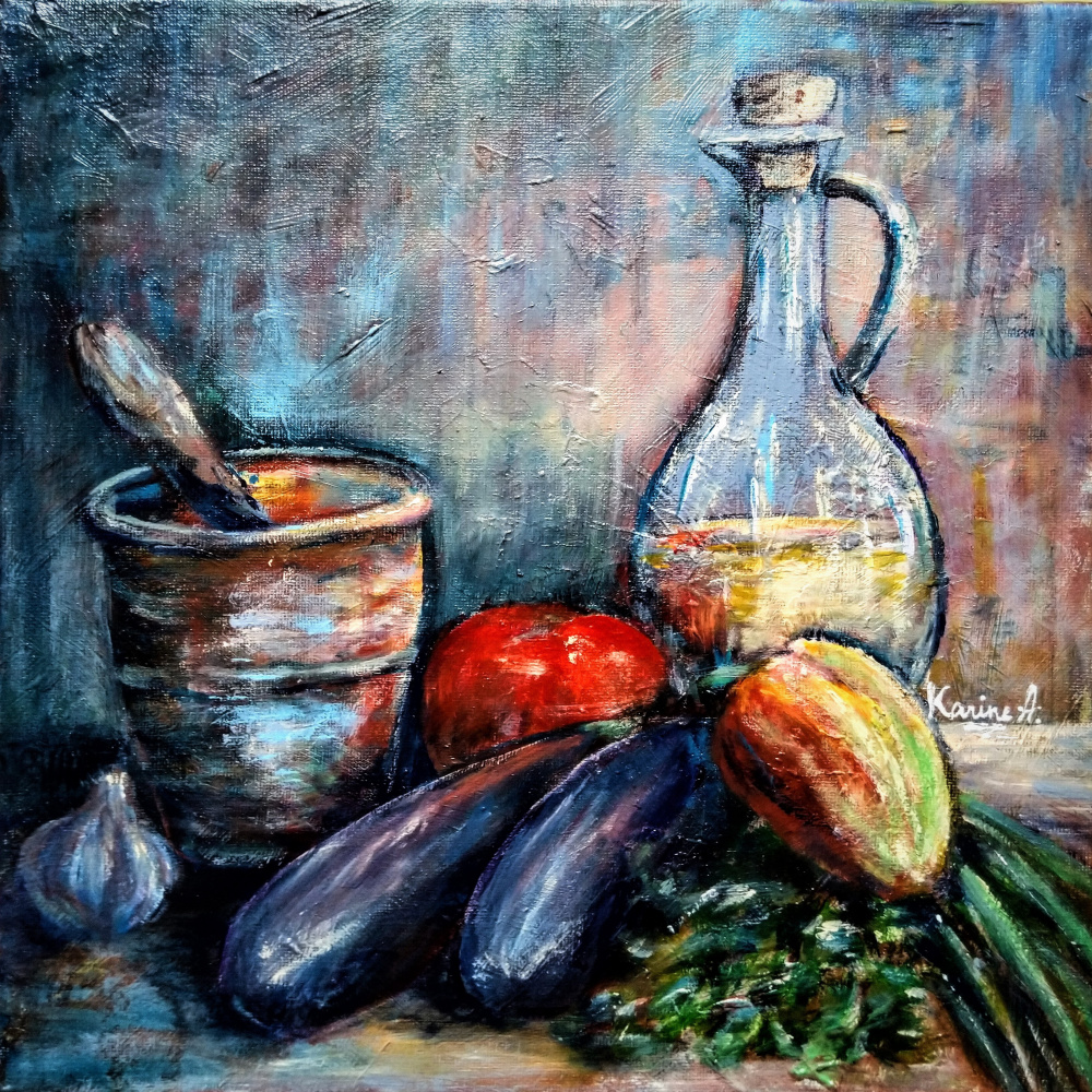 Karine Andriasyan. Vegetables and a copper stupa