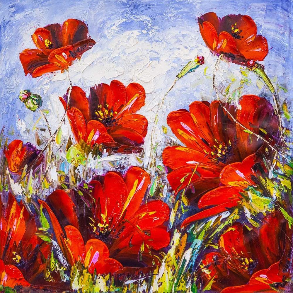 "Andrzej Vlodarczyk. Still life with oil ""Flower fantasy. Red tone"""