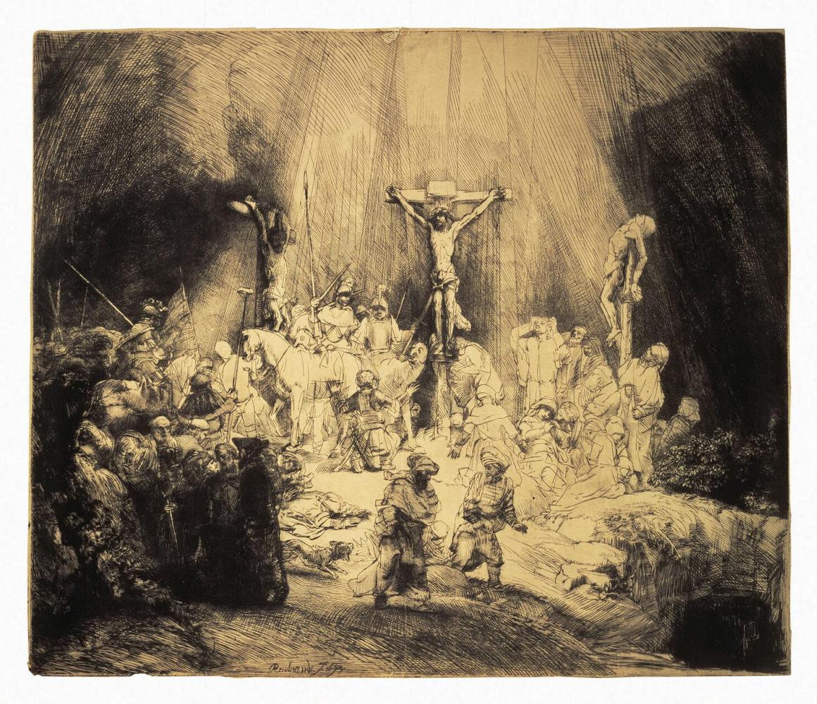 Рембрандт Ван Рейн. Христос, распятый между двумя разбойниками