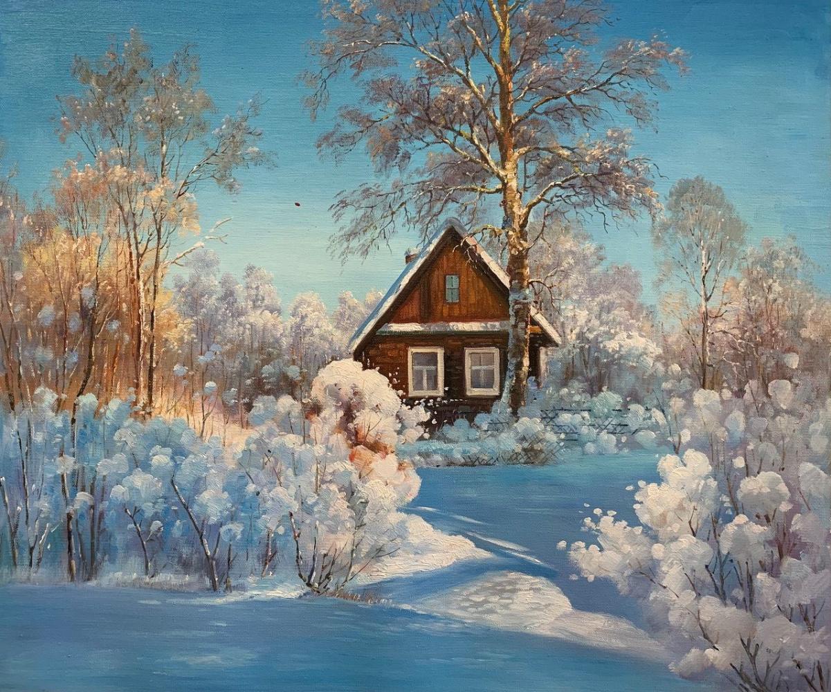 Alexander Romm. House in the village in winter