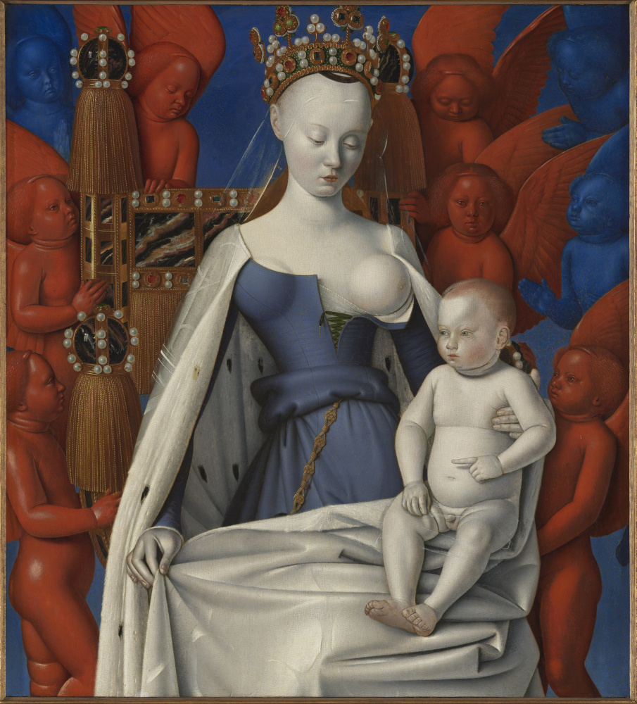 Jean Fouquet. The Madonna and Child. Right wing of the Melun Diptych