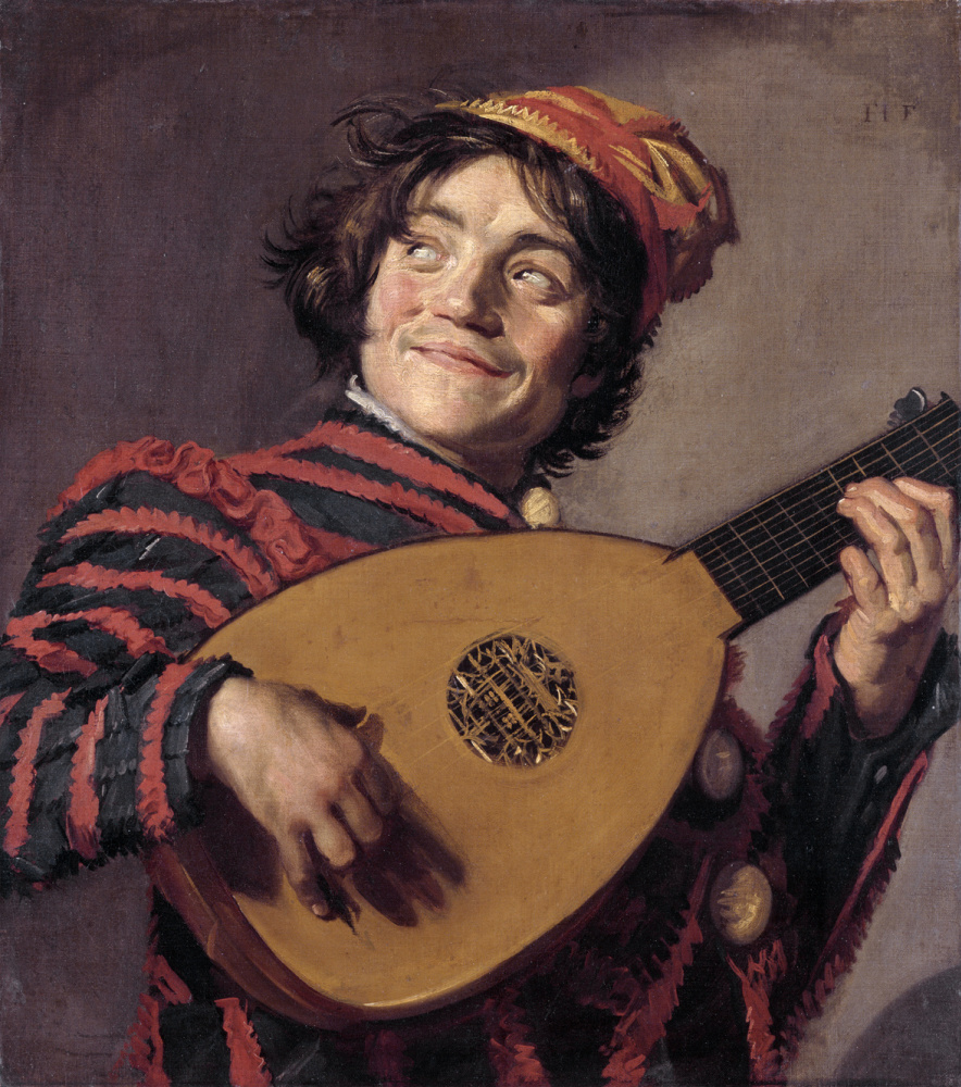 France Hals. A jester playing the lute
