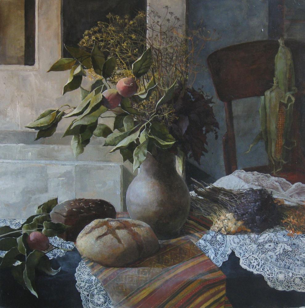 Polina Kuznetsova. Натюрморт с травой и хлебом