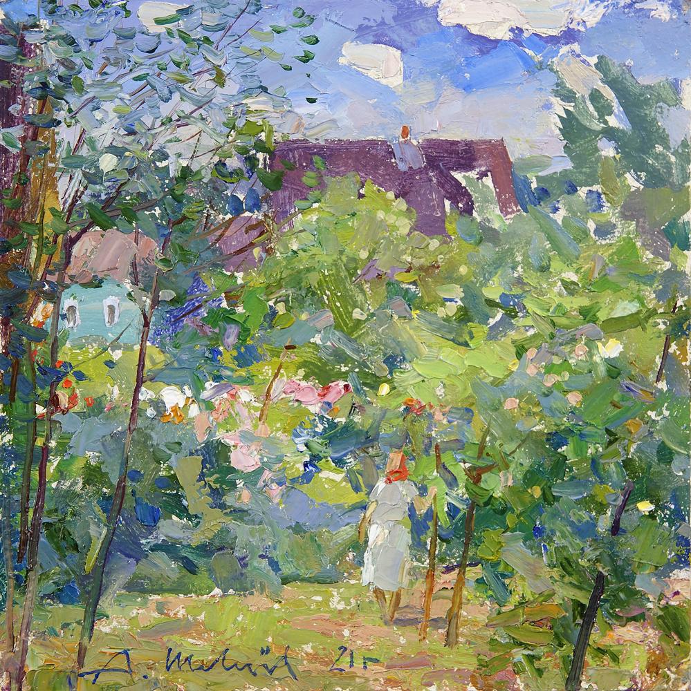 Alexander Shevelyov. Цветущий сад в Шереховичах. Картон, масло 25 х 25,3 см. 2021