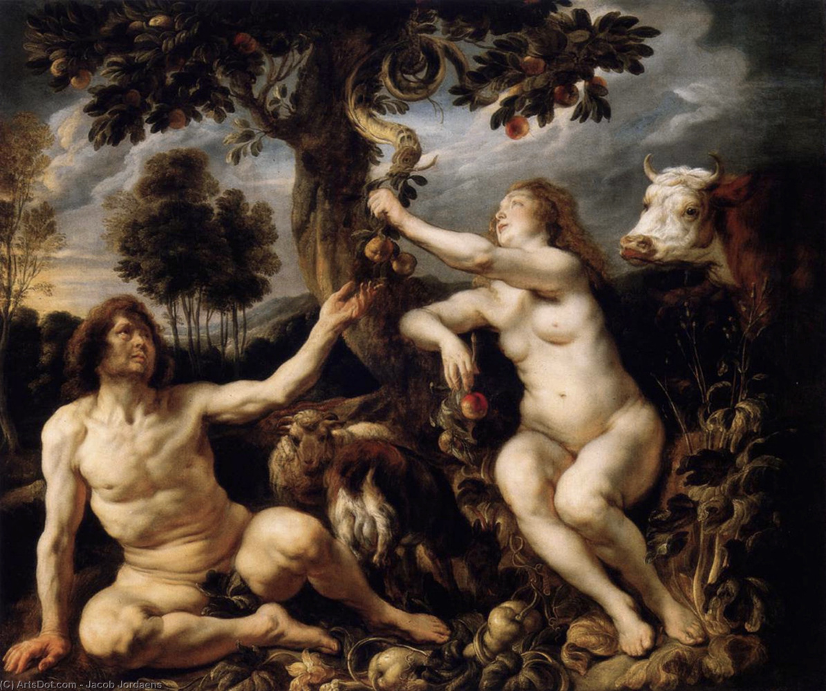 Jacob Jordaens. The Temptation of Adam and Eve (The Fall)