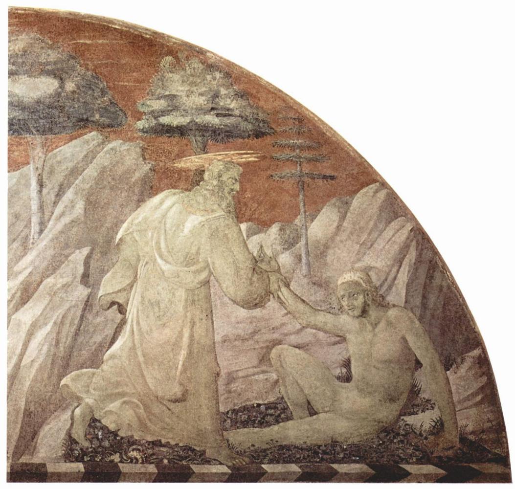 Паоло Уччелло. Сотворение животных и сотворение Адама. Фрагмент: Сотворение Адама. Церковь Санта Мария Новелла во Флоренции. Сцена в люнете