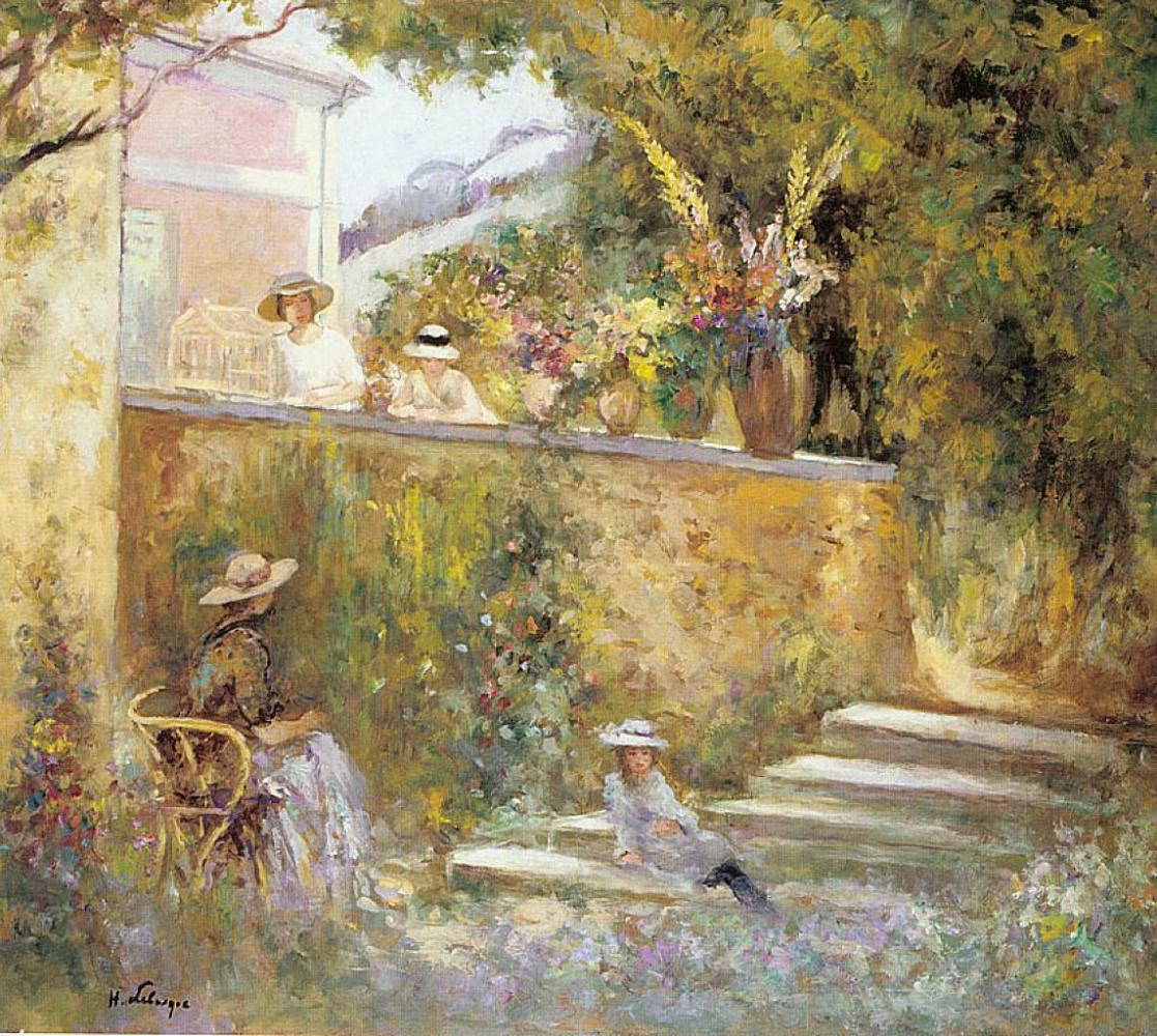 Анри Лебаск. Ноно и мадам в саду